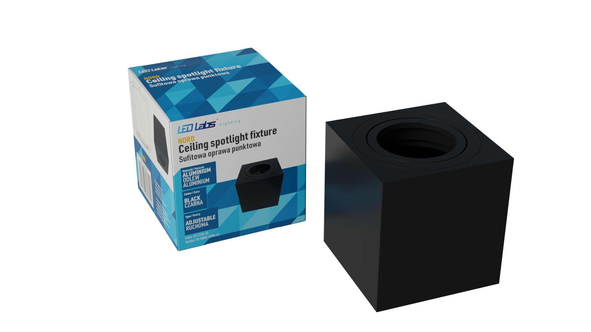 Ceiling spotlight fixture SPOT NORD square black