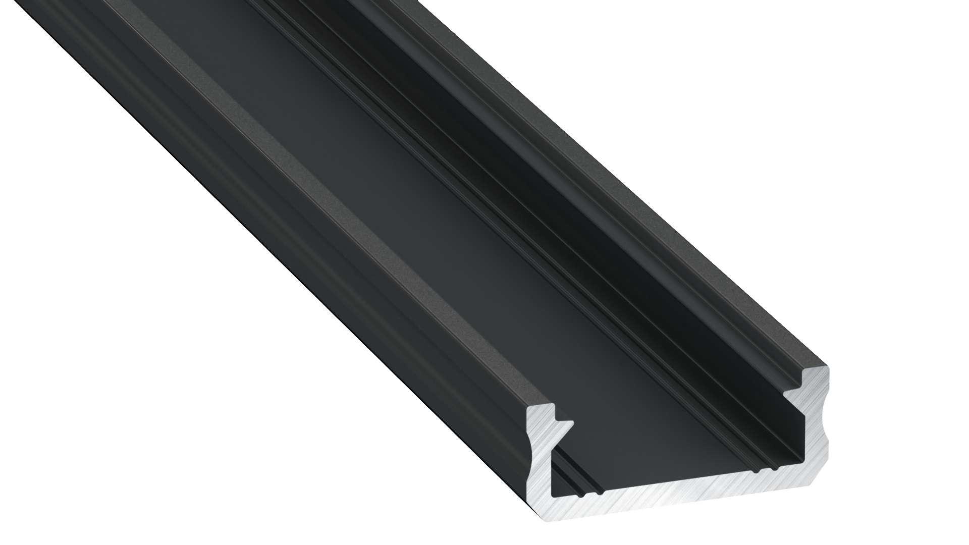 Lumines profile type D anodized black, 1 m