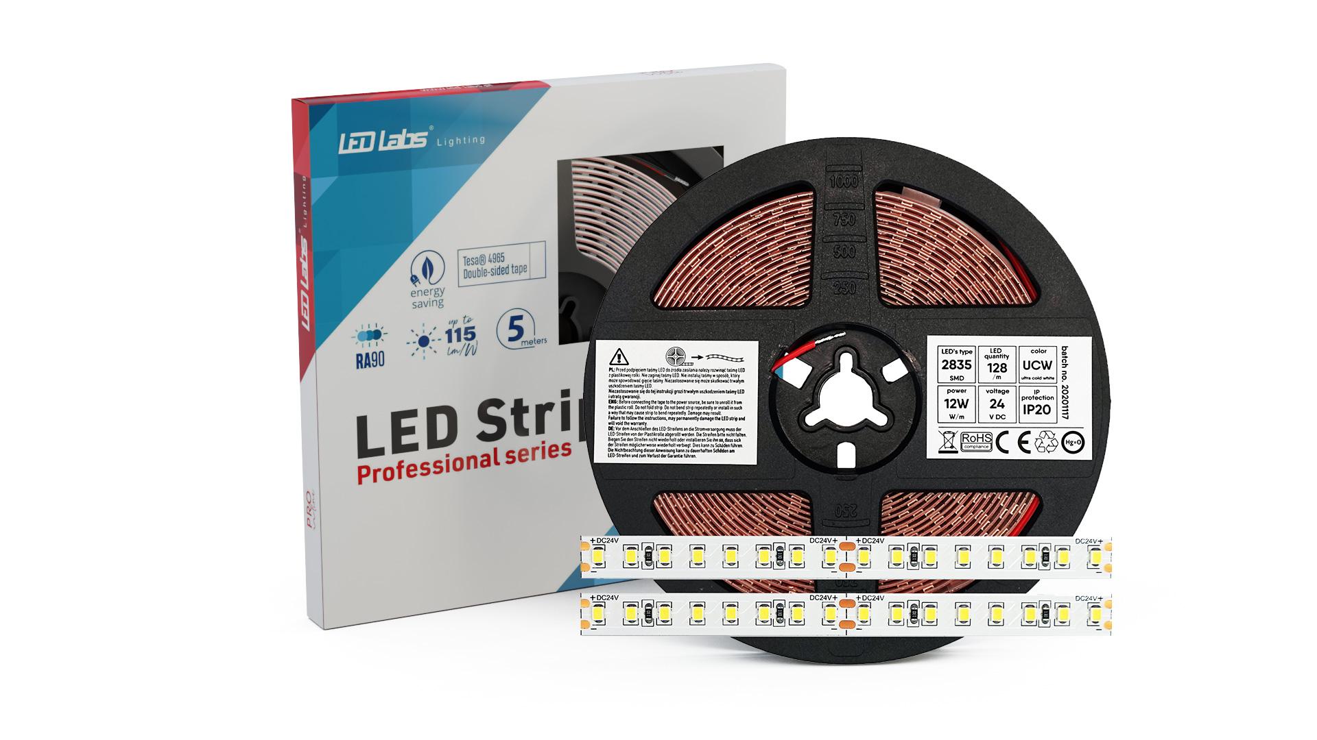 LED Strip PRO 5Y 24V 640 LED 2835 SMD 12W 3000K RA90