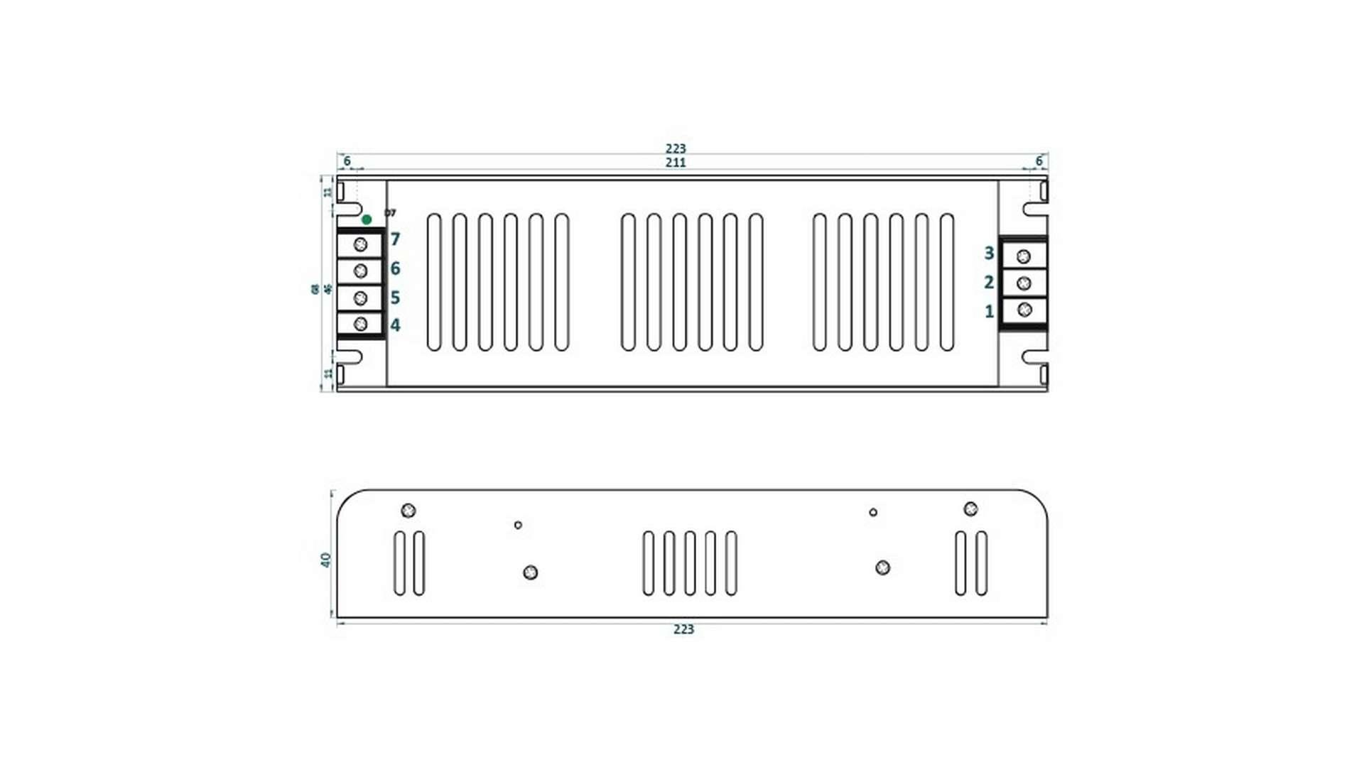 12V 200W IP20 enclosed power supply, SLIM