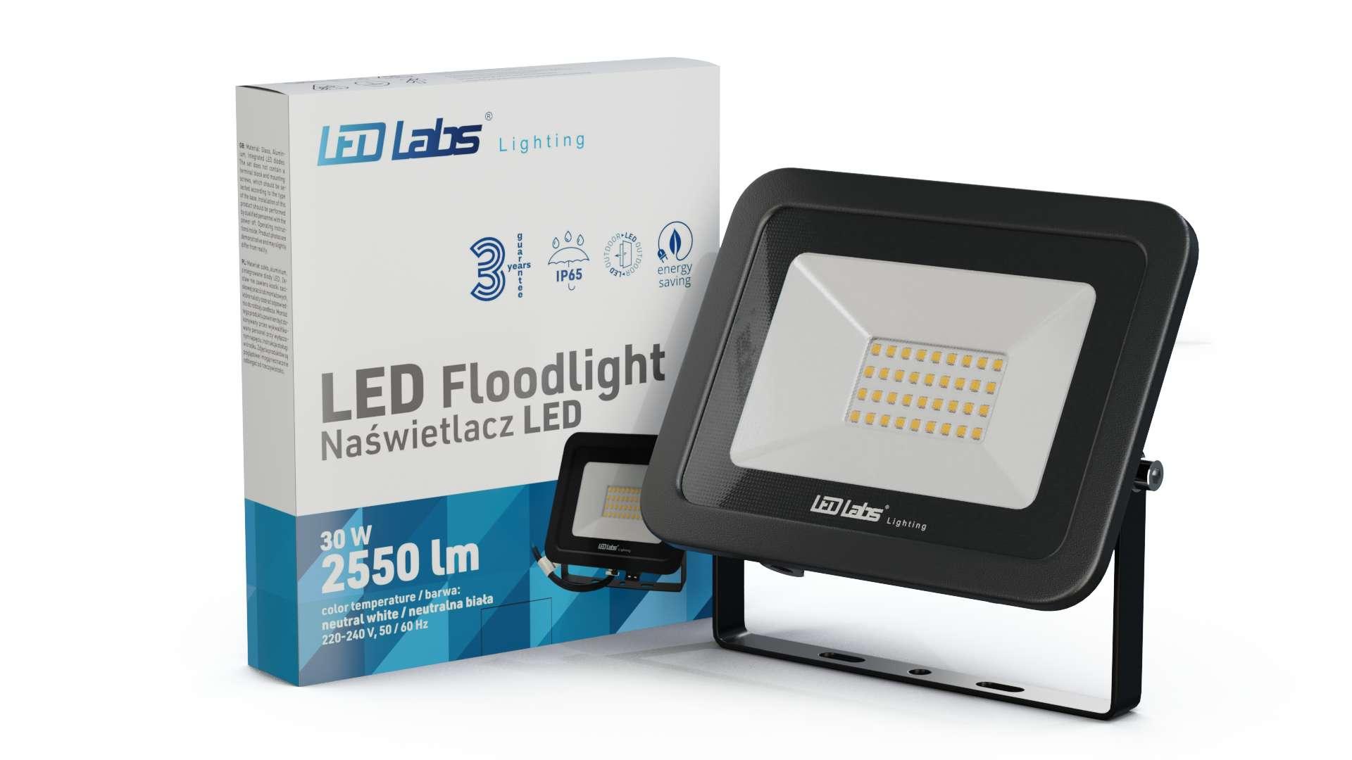 LED Floodligh 3Y 30W Neutral white SMD IP65 SLIM, black