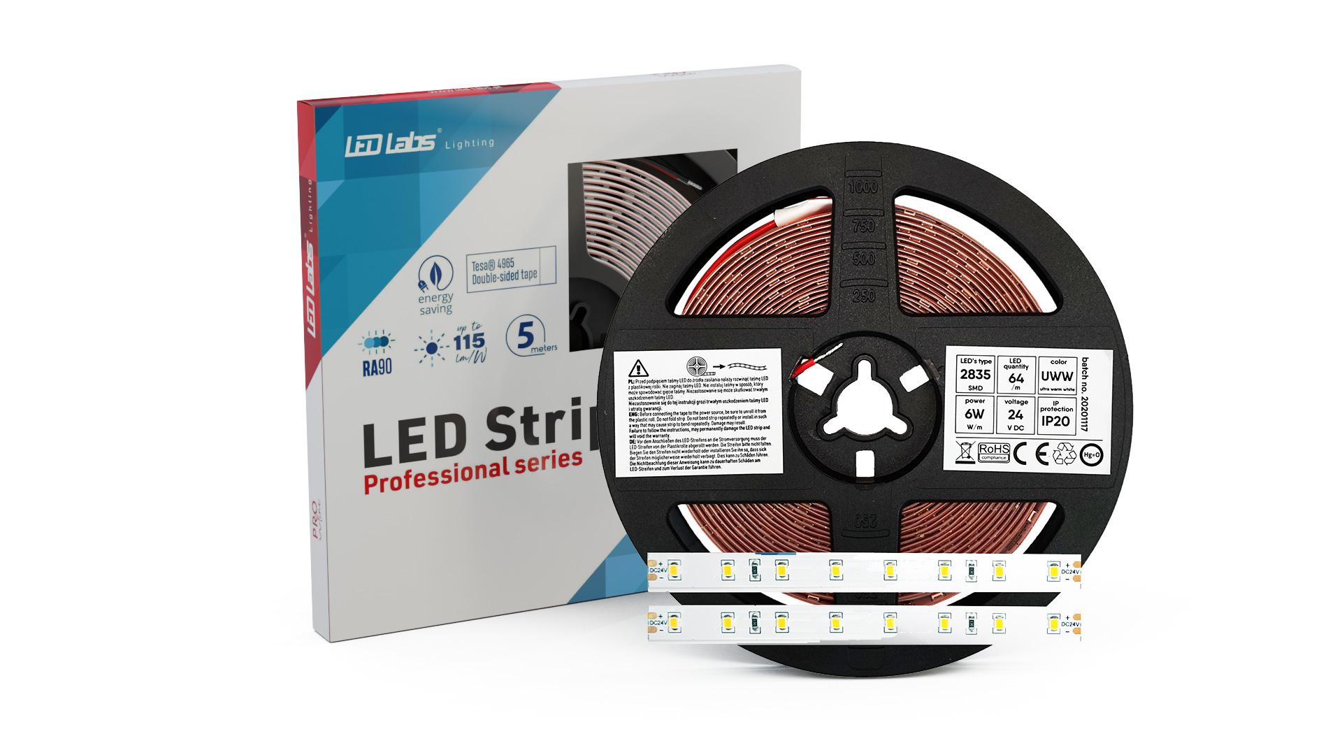 LED Strip PRO 5Y 24V 320 LED 2835 SMD 6W 3000K RA90