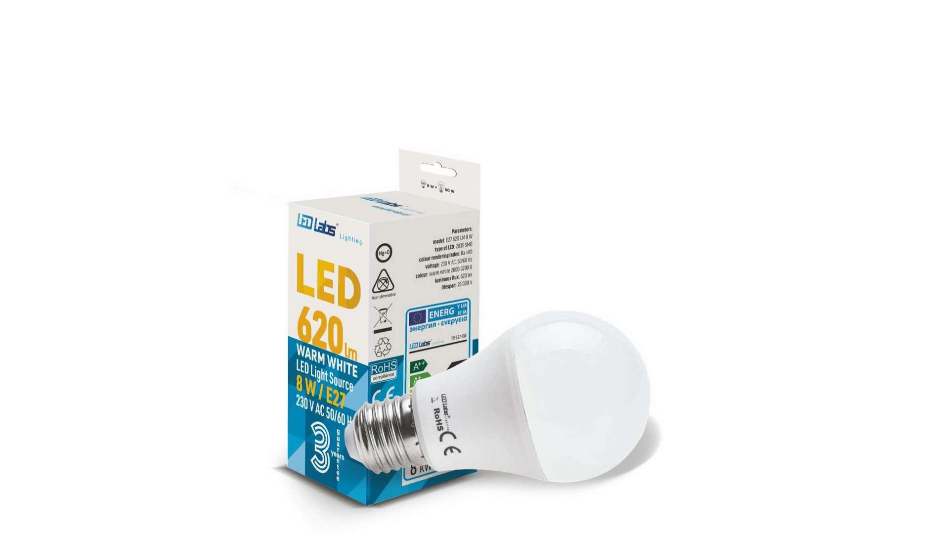 LED source E27 8W A60 Warm white