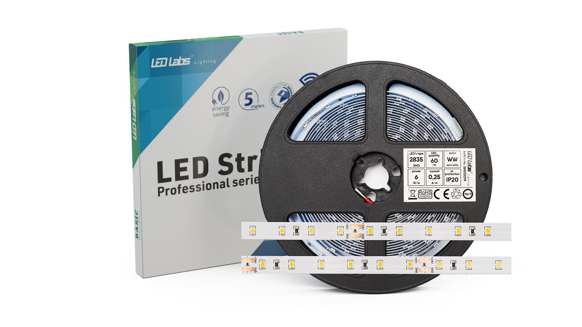 LED Strip PRO 3YB 12V 300 LED 2835 SMD 6W, Warm white IP65HS
