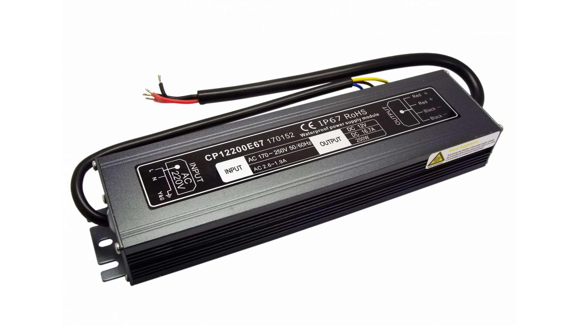 12V 200W IP67 metal case power supply