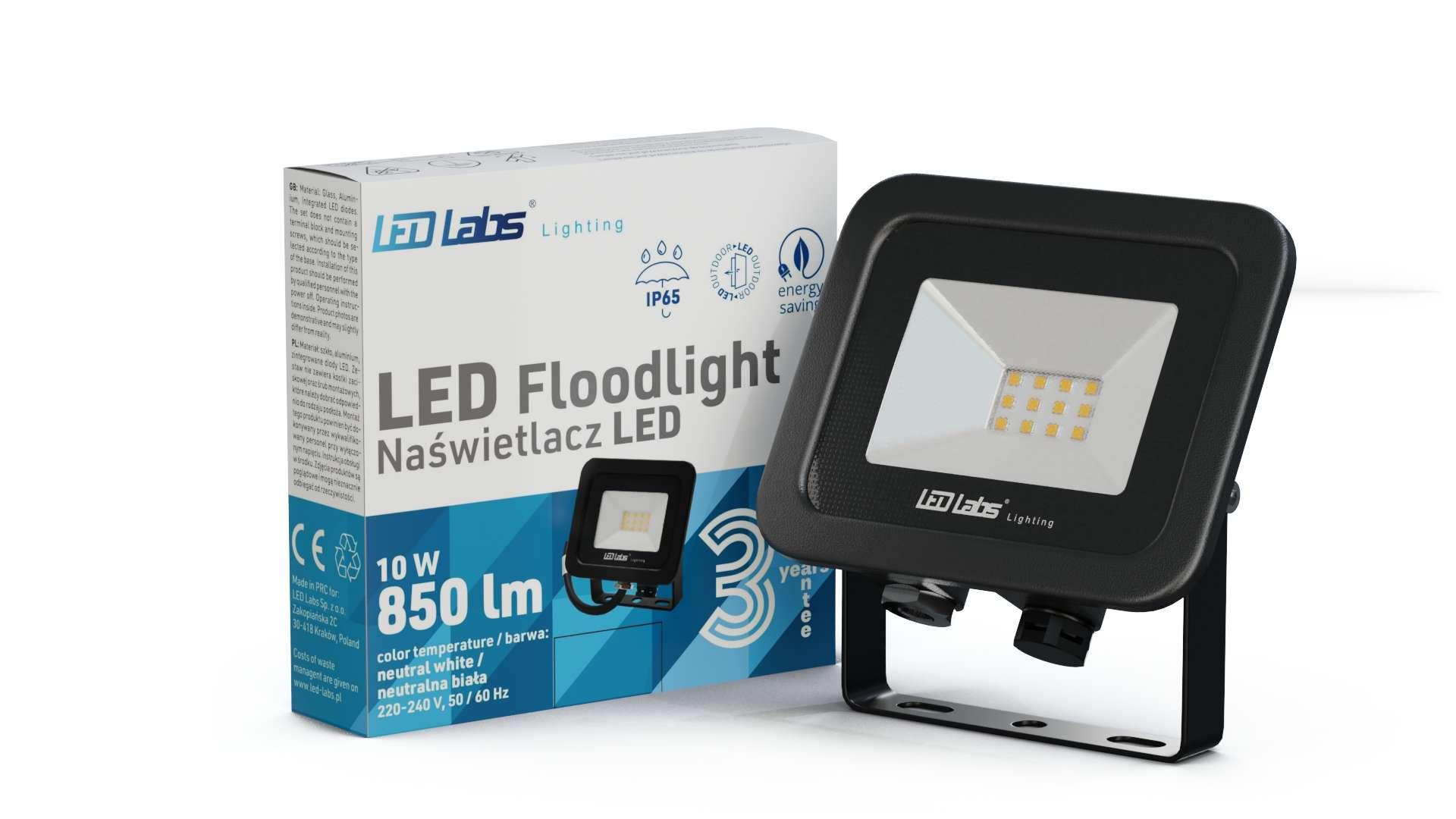 LED Floodligh 3Y 10W Neutral white SMD IP65 SLIM, black