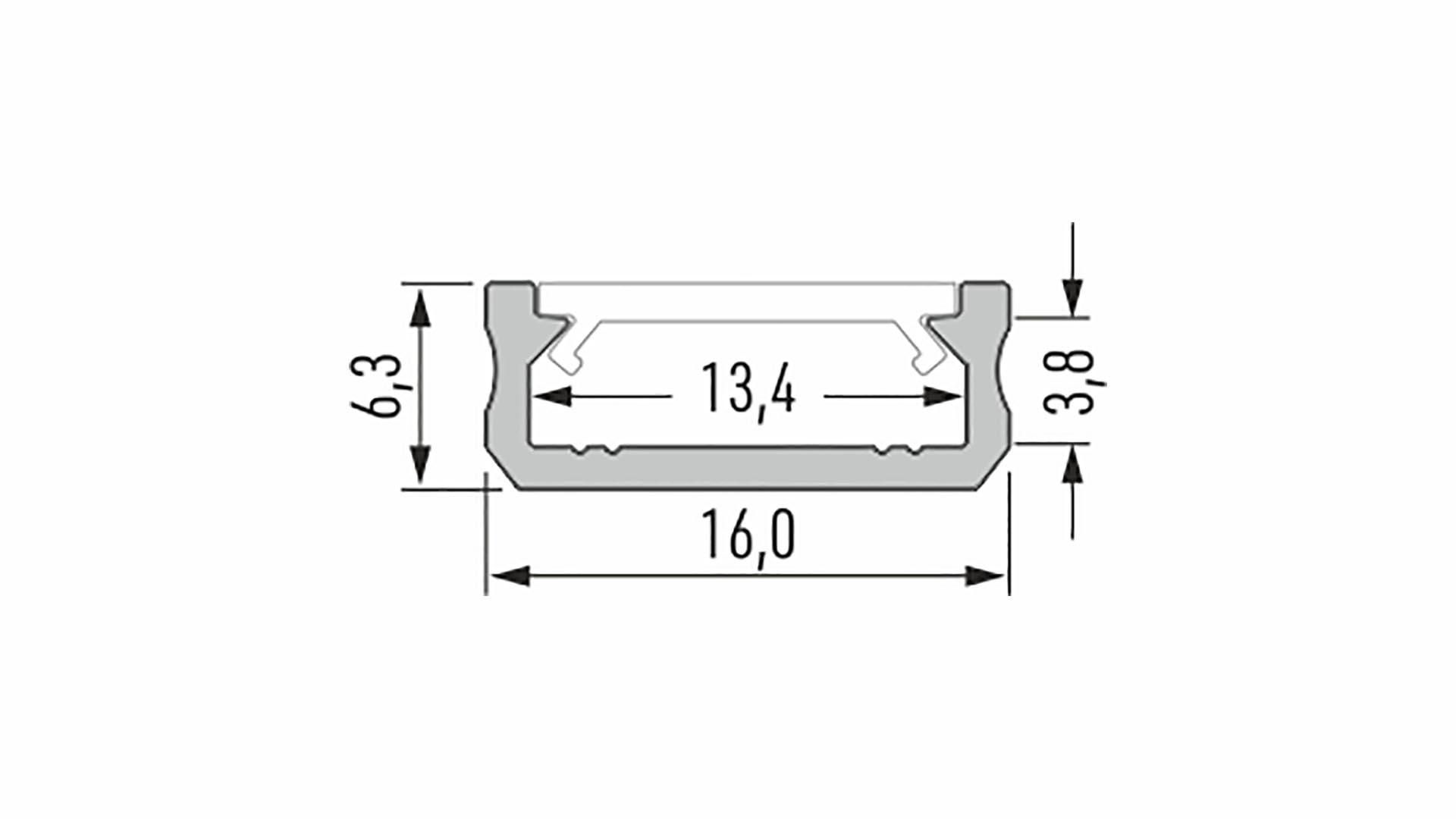 Lumines profile type D anodized inox, 2,02 m