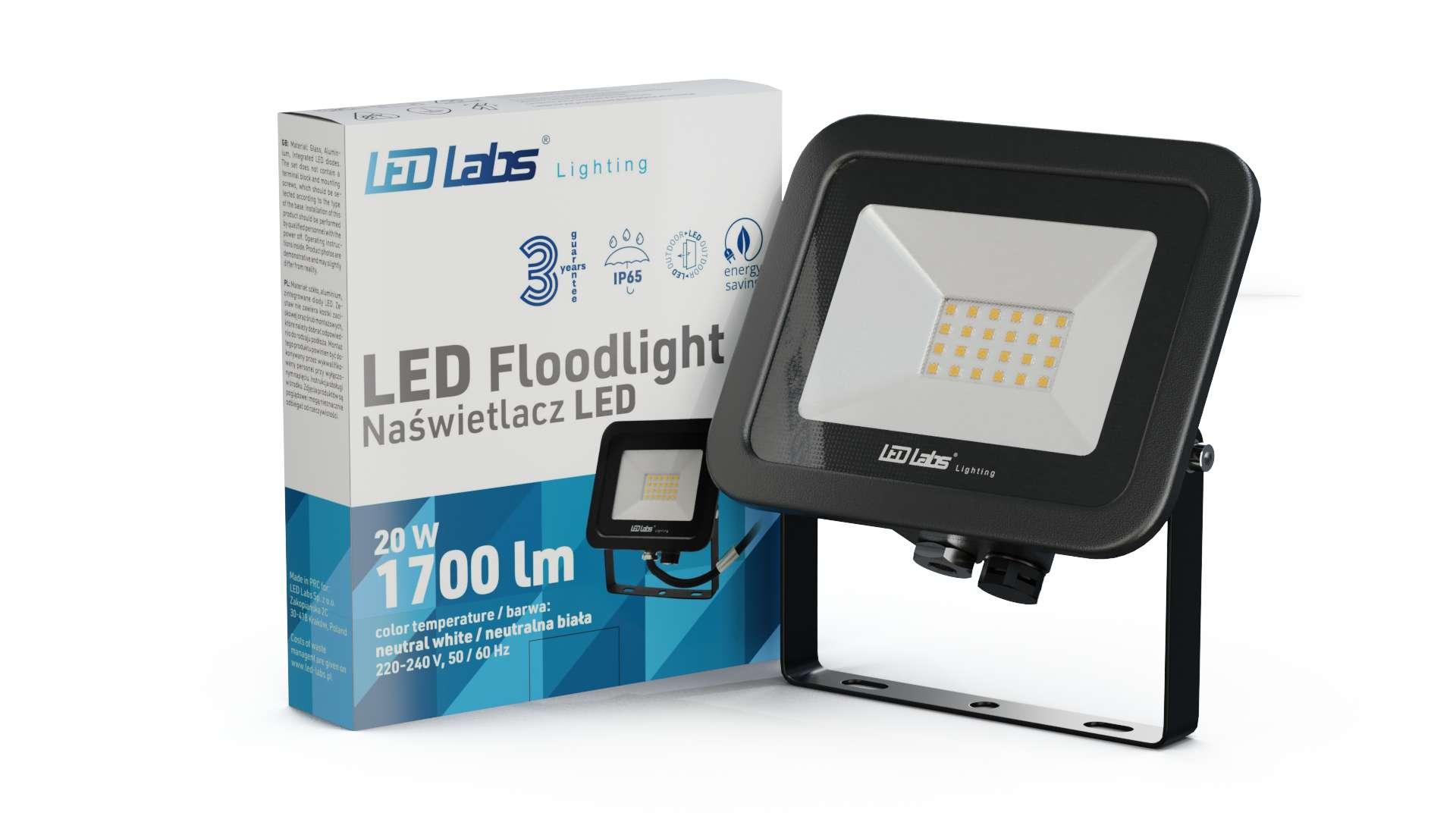 LED Floodligh 3Y 20W Neutral white SMD IP65 SLIM, black