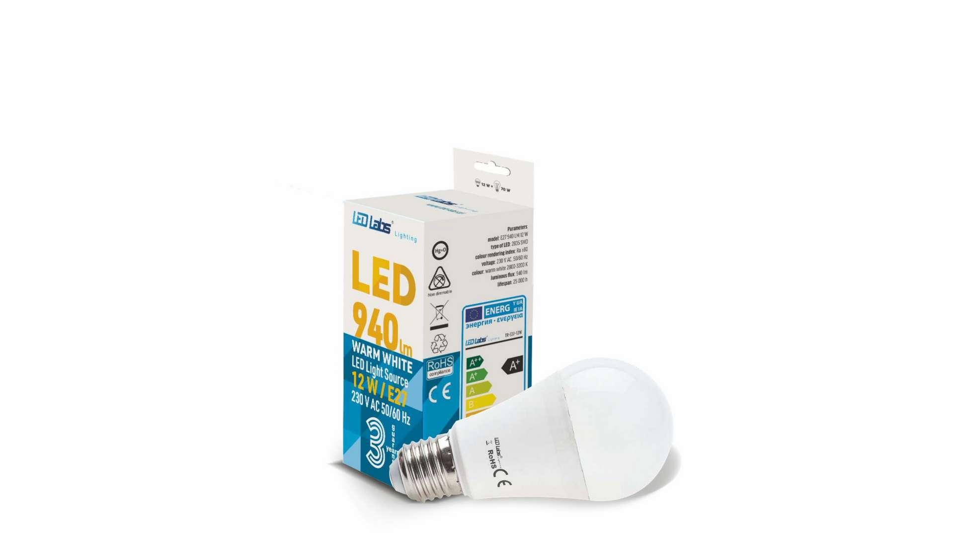 LED source E27 12W A60 Warm white