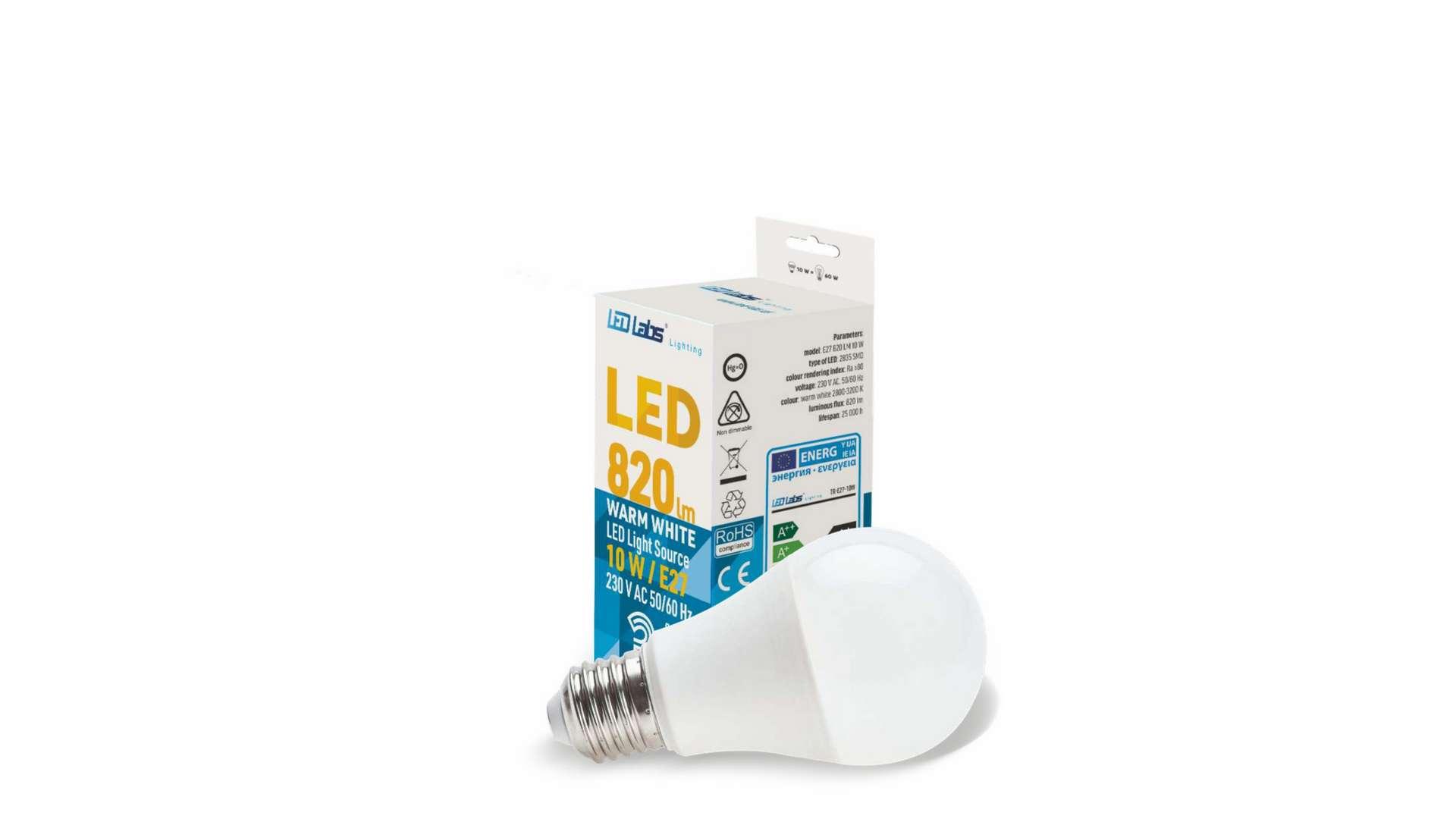 LED source E27 10W A60 Warm white